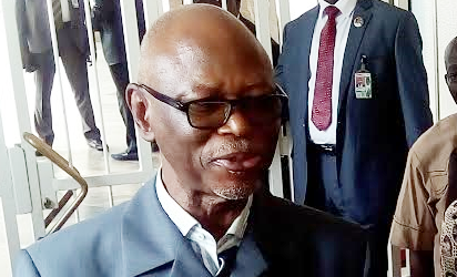 National Chairman APC, Chief Odigie Oyegun briefing State House Correspondents after a closed-door meeting with President Muhammadu Buhari at the State House, Abuja. Photo by Abayomi Adesida
