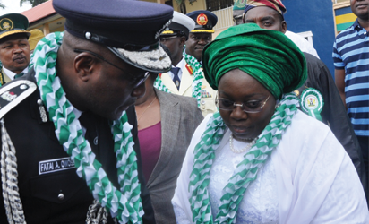 Representative of Lagos State Governor & Deputy Governor, Dr. (Mrs.) Oluranti Adebule (right), with Commissioner of Police, Mr. Fatai Owoseni during the 56th Independence Day Parade at the Police College Ground, Ikeja, Lagos, on Saturday, October 01, 2016