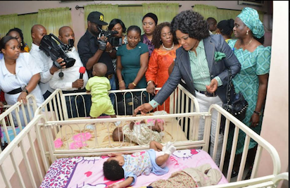 Wife of the Rivers State Governor, Justice Eberechi Suzzette Nyesom-Wike with children  at the Port Harcourt Children Home during her pre-independence charity visit on Friday.