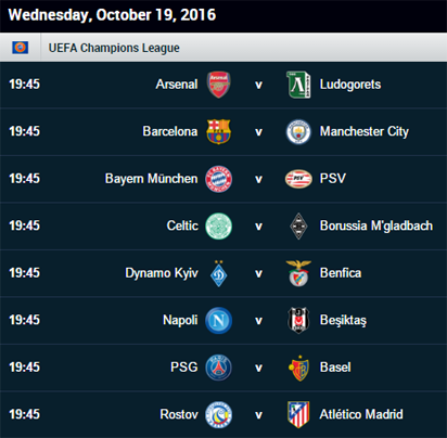 Today Champions League Fixture