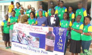 """WALK: Members of Hospital and Palliative Care during a walk to mark the 2016 World Hospice and Palliative Care Day celebration with the theme: """"Living and Dying in Pains it does not have to happen"""" held at the University College Hospital Ibadan on Friday."""