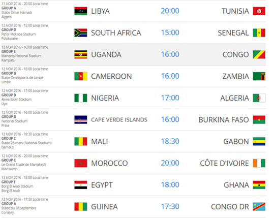 Africa world cup fixtures