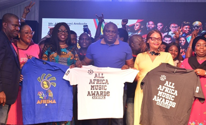 Lagos State Governor, Mr. Akinwunmi Ambode (3rd right); his wife, Bolanle (3rd left); Deputy Governor, Dr. (Mrs.) Oluranti Adebule (right); being presented with AFRIMA T-Shirts by President/Executive Producer, All Africa Music Awards (AFRIMA), Mr. Mike Dada (left); Executive of International Committee of AFRIMA, Matlou Tsotetsi (2nd right) during a Cocktail with AFRIMA and Africa Union Delegates at the Lagos House, Ikeja, on Saturday, November 5, 2016.