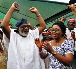 Rotimi Akeredolu and his wife Betty jubilating at his residence in Owo after the declaration of the result by INEC.PHOTO;AKEEM SALAU