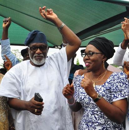 APC Governor-Elect in Ondo state ,Rotimi Akeredolu and his wife Betty  in jubilation at his residence in owo after his declaration as the winner of the Ondo Gov election by INEC.PHOTO;AKEEM SALAU