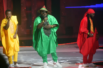 Ghanaian group VVIP perform during the All Africa Music Awards (AFRIMA) ceremony in Lagos, on Monday, November 6, 2016. 82-year-old Cameroonian vibraphone and saxophonist Manu Dibango, was recognised for making tremendous contributions to African music, especially for developing a music style fusing jazz, funk and traditional Cameroonian music. The All Africa Music Awards is designed to recognise and reward artiste who have given African music the most creative competitive edge in the global market within the year under review. AFP