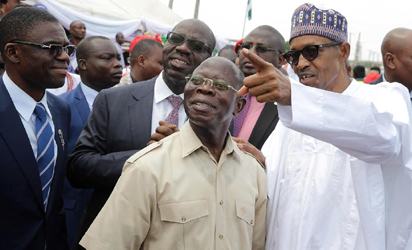 President Buhari with L-R: Edo State Deputy Governor Elect Hon. Philip Shuaibu, Edo State Governor Elect Godwin Obaseki and Governor of Edo State Adams Oshiomole shortly after commissioning Upper Siluko Road during his visit to Edo State for the Commissioning of Infrastructural Projects in Benin City on 7th Nov 2016