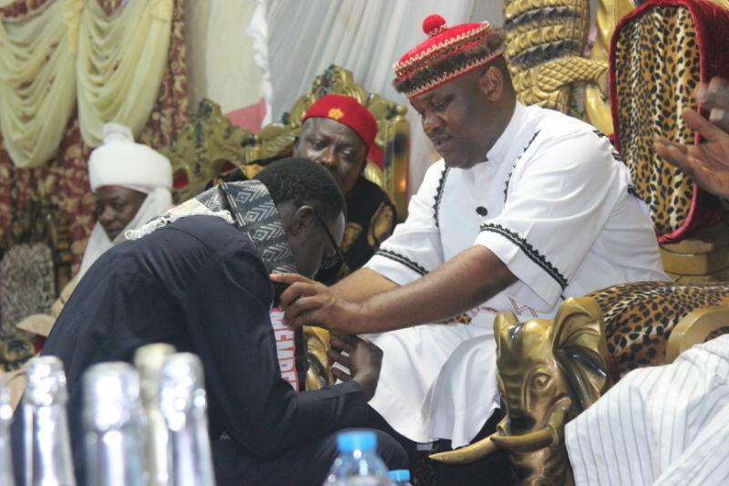 Comrade Balami being decorated by Igwe of Ezeokwe Kingdom,  Dr Emmanuel Ugwu