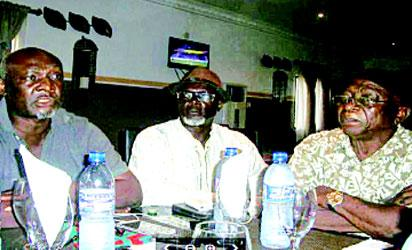 L-R: Managing Director of EVAL, Sir Okechukwu Chika Moses, Director, Chief Michael Okeyahwel and Engr. Augustine Odenigbo at a press briefing in Enugu.