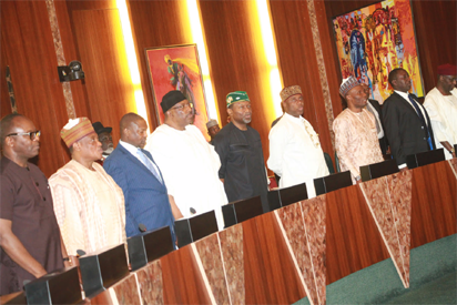 From left, Minister of State for Petroleum Resources, Emmanuel  Kachiukwu; Defence Minister, Alhqji Dan Ali; Attotnery General of the Federation. Abubakar Malami; Minister for Interior, Abdulrajman Danbazzau; Budget and  National Planning Minister, Senator Udo Udoma; Transport Minister, Rotimi Amaechi; Minister for Niger Delta Development, Pastor Usain Uguru; National Security Adviser, Gen. Babagana Mongunu  and the Chief of Staff to the President. Alhaji Abba Kyari during the meeting between the Presidency and Pan Niger Delta Stakeholders on lasting peace in the region at the Aso Chambers,  State House, Abuja. Photo by Abayomi ADESHIDA