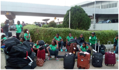 Falconets players at the Murtala Muhammed Airport Ikeja Lagos waiting for transportation back to their homes.