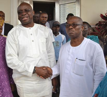 Gov. Ayodele Fayose of Ekiti State, when he paid a surprise visit to ex-Gov. of the state, Engr. Segun Oni in his home town in Ifaki-Ekiti