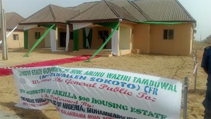 One of the buildings commissioned by President Muhammadu Buhari during the commissioning ceremony of Arkila 500 Housing Units as part of the activities marking the working visit of the President to Sokoto State at  Kalambaina Road, Sokoto. Photo by Abayomi ADESHIDA