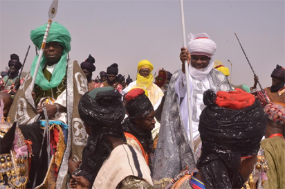 Former President Olusegun Obasanjo and Governor Aminu Tambuwal of Sokoto State on a horse ride to participate in the Mini Durbar organised as part of activities to mark the 10th Year Anniversary of the Sultan of Sokoto at Polo Grounds, Sokoto. Photo by Abayomi Adeshida
