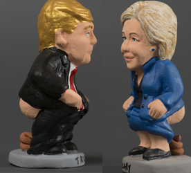 "Ceramic figurines, called ""caganers"" (poopies), representing US Democratic presidential nominee Hillary Clinton (R) and  US Republican presidential nominee Donald Trump (L) are displayed at a factory in Torroella de montgri on November 4, 2016. Statuettes of well-known people defecating are a strong Christmas tradition in Northeastern Spanish region of Catalonia, dating back to the 18th century as Catalans hide 'caganers' in Christmas Nativity scenes and invite friends to find them. The figures symbolize fertilization, hope and prosperity for the coming year.  / AFP PHOTO"