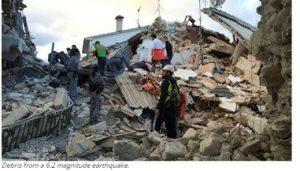 Debris from a 6.2 magnitude earthquake.