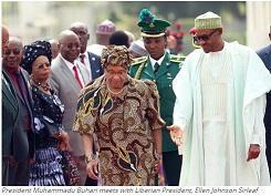 President Muhammadu Buhari meets with Liberian President, Ellen Johnson Sirleaf
