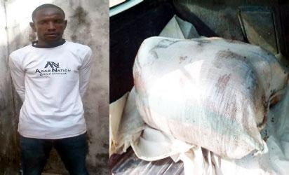 Haruna Abubakar and the sack containing Haruna Abubakar's chopped remains.