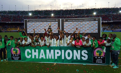 Champions: Nigeria's Super Falcons on Saturday in Yaounde won the 2016 Women's Africa Cup of Nations (AWCON) for the eighth time after beating Cameroon 1 – 0 to retain AWCON title.