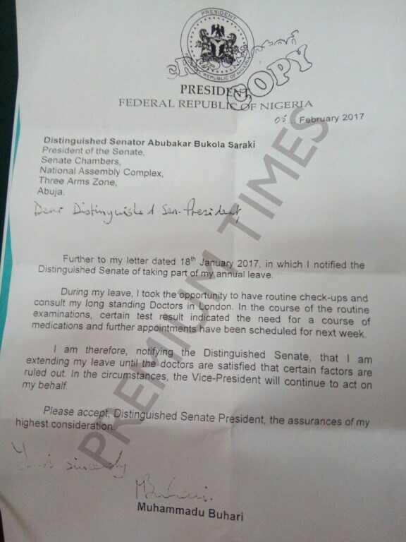 Read buharis letter to senate stating reasons for extension of read buharis letter to senate stating reasons for extension of medical vacation vanguard news spiritdancerdesigns Image collections