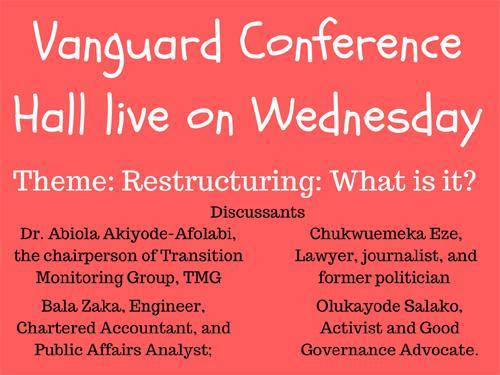 Vanguard Conference Hall live on Wednesday