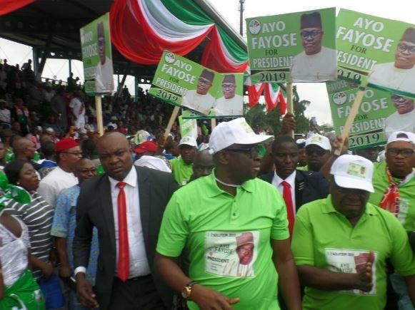 Fayose launches presidential campaign at PDP convention