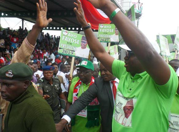 Governor Fayose and his 2019 presidential campaign team storm PDP national convention