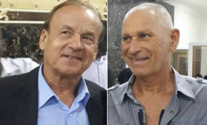 Rohr arrives CHAN Eagles camp with goalkeeper trainer Pionetti