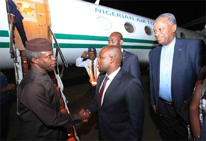 Osinbajo arriving for Kagame's inauguration