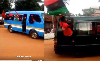 Video: Biafra Lion Squad from Anambra head to Kanu's home after military inversion
