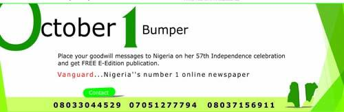 October 1 bumper Adverts on Vanguard Newspaper