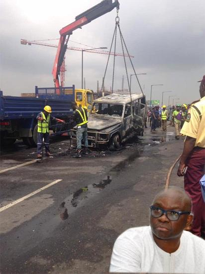 Photos: Fayose's G-Wagon catches fire on motion