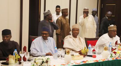 Breaking: NASS leadership at Presidential Villa for dinner with Buhari