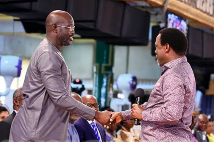 George Weah meets TB Joshua, seeks God's face at Synagogue church