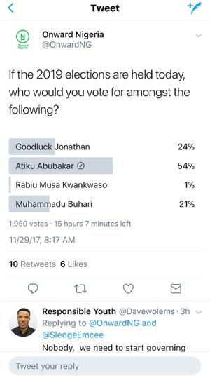 Atiku floors Buhari, Jonathan, Kwankwaso in online viral poll