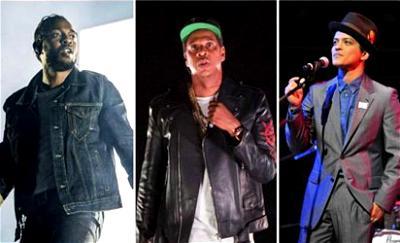 Kendrick Lamar, Jay-Z and Bruno Mars