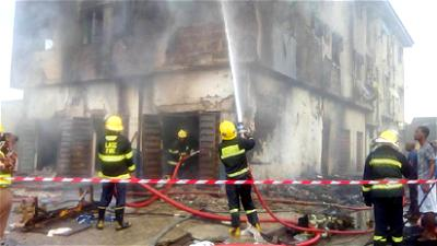 Ogbe-Ijoh Market on fire