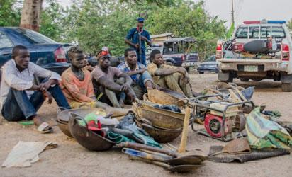 Arrested illegal miners at the NSCDC headquarters, Oke Do in the state of Osun on Tuesday 15th November, 2017.