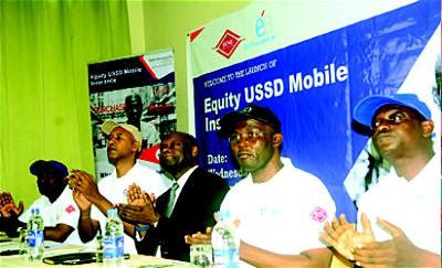 From left: Mr Leke Hassan, GM, Business Development and Sales; Mr Karim Dione, Executive Director, Strategy and Performance; Mr Abba Kyari Bukar, Chairman; Mr Moruf Apampa, Managing Director/CEO; and Mr Sam Ogbodu, Executive Director, Technical, all of Equity Assurance Plc during the launch of Equity USSD Mobile Insurance Solution in Lagos.
