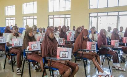 Osun students with their Opon Imo