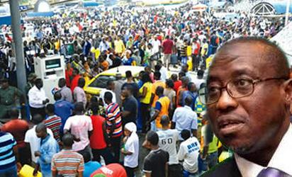 Nigerian motorists queuing for fuel told there are no shortages