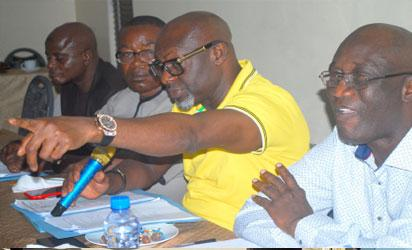 R-L: Joseph Ogbebor, General Secretary, Nigeria Union of Pretroleum and Natural Gas Workers, NUPENG;  Igwe Achese, President, NUPENG; Asuquo Okon Deputy President, NUPENG and Bala Mohammed National Auditor of NUPENG, briefing after the Union's NEC meeting in Port Harcourt, Photo: Nwankpa Chijioke