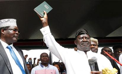Raila Odinga takes oath of office as opposition president