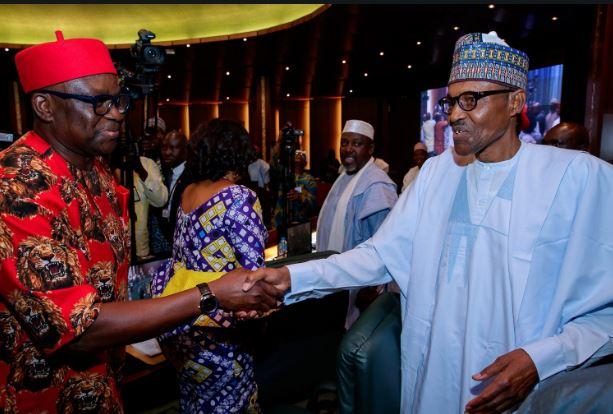 President Buhari exchanges pleasantries with the Governors of Ekiti and Lagos States ahead of the National Council of State Meeting at the State House,