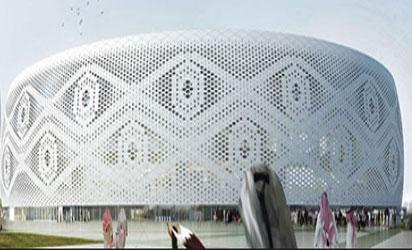 Al Thumama Stadium inside the Khalifa International Stadium: Al Thumama Inspired by the woven gahfiya cap worn around the Arab region, this arena's design was recently revealed. With the first concrete poured, work here is now well under way.