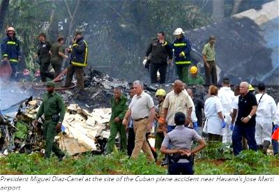 President Miguel Diaz-Canel at the site of the Cuban plane accident near Havana's Jose Marti airport