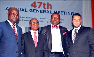 From Left: Mr Tunde Lemo, Independent Non-Executive Director; Mr Edmund Onuzo, Chairman; Mr Uche Uwechia, Company Secretary & Legal Director and Mr Kareem Hamdy, Finance Director, all of Glaxosmithkline Consumer Nigeria Plc, At the 47th Annual General Meeting of the Company in Lagos…. Thursday.