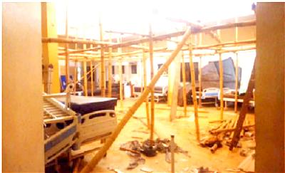 •The theatre of Mother and Child Hospital whose rooftop was blown off by rainstorm in Ondo