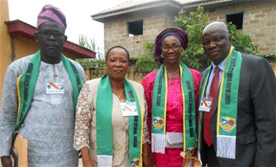 •From right, President of the Mount Olivet Grammar School Alumni Association of Nigeria (MOGSAAN), Otunba Hakeem Oladipo Animasaun; Secretary, Mrs Aderonke Eseka; Vice President, Mrs Titilayo Banjo and Financial Director, Mr Adefunso Fadahunsi, shortly after the inauguration of the new executive during the association's 2018 national convention in Ibadan, Oyo State.