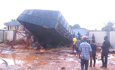 The collapsed overhead tank
